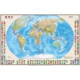 Карта. Мир. Политическая с флагами.